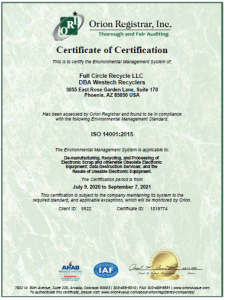 ISO 14001 certificate of compliance
