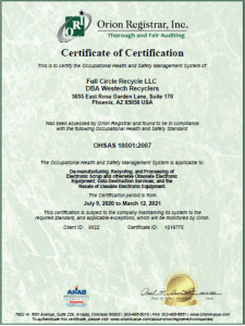 OHSAS 18001 certificate of compliance