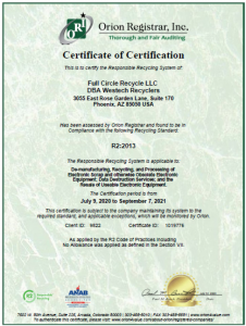 R2 certification of compliance
